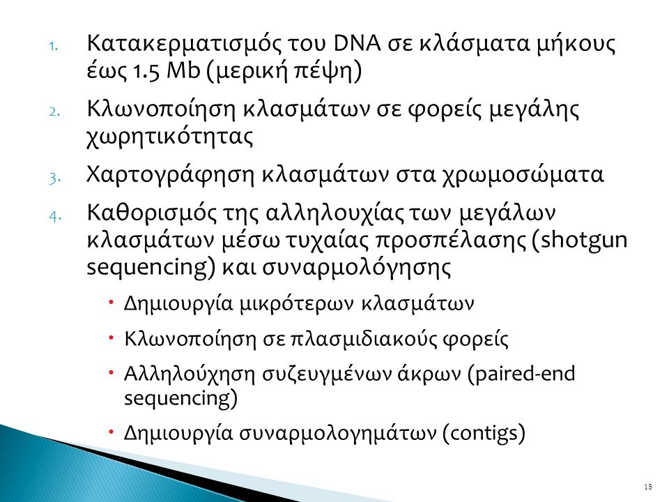 Κατακερματισμός του DNA σε κλάσματα μήκους έως 1.5 Mb (μερική πέψη)
