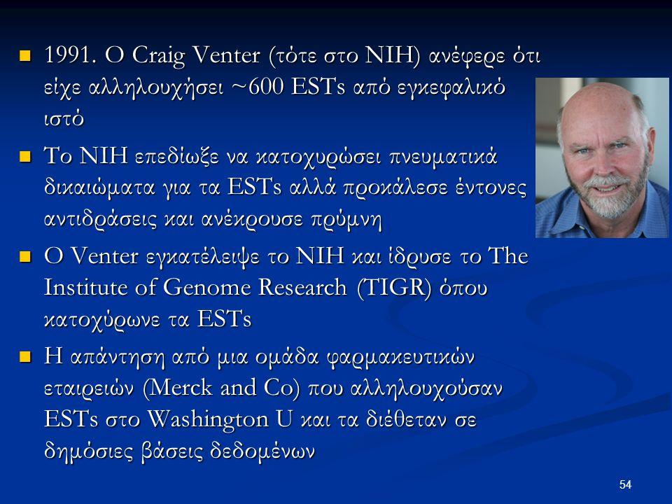 1991. O Craig Venter (τότε στο ΝΙΗ) ανέφερε ότι είχε αλληλουχήσει ~600 ESTs από εγκεφαλικό ιστό