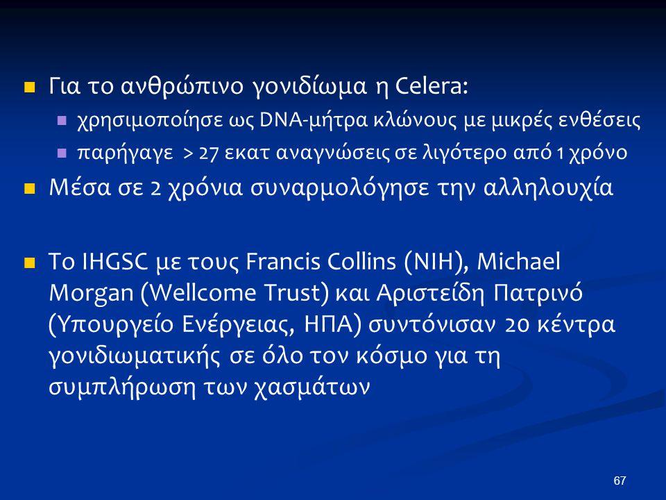 Για το ανθρώπινο γονιδίωμα η Celera: