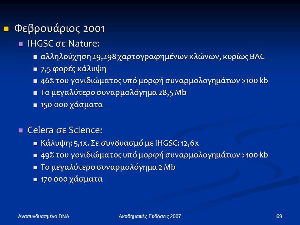 Φεβρουάριος 2001 IHGSC σε Nature: Celera σε Science: