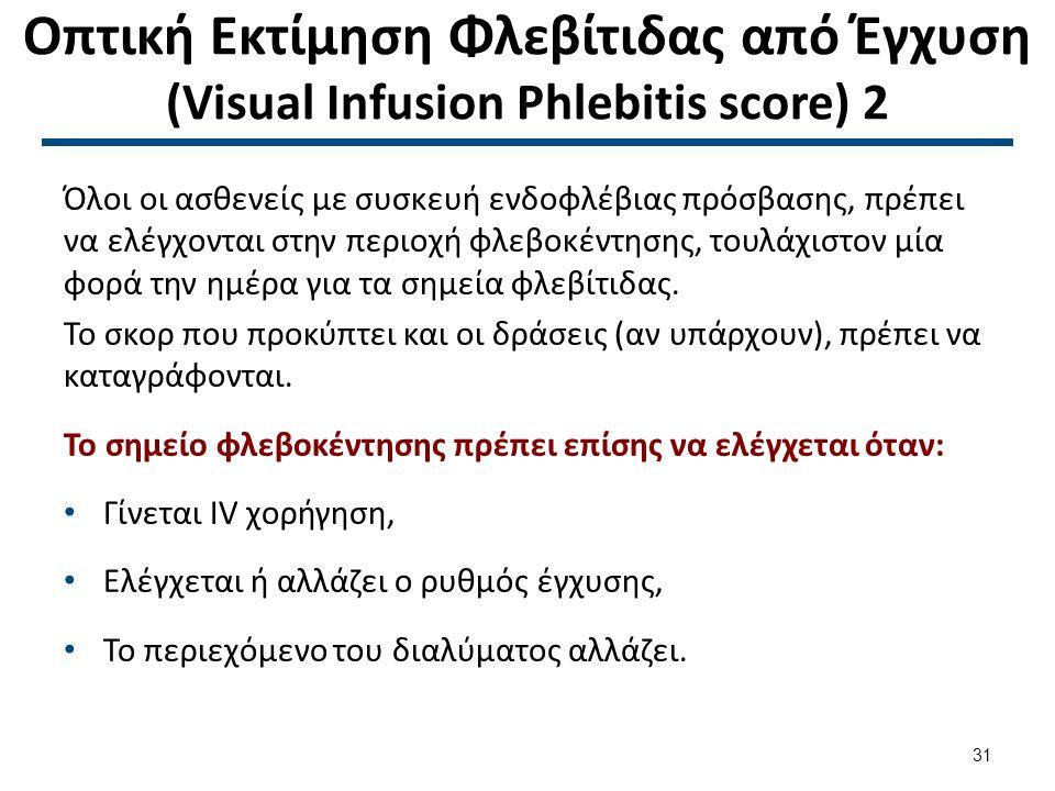 Οπτική Εκτίμηση Φλεβίτιδας από Έγχυση (Visual Infusion Phlebitis score) 3
