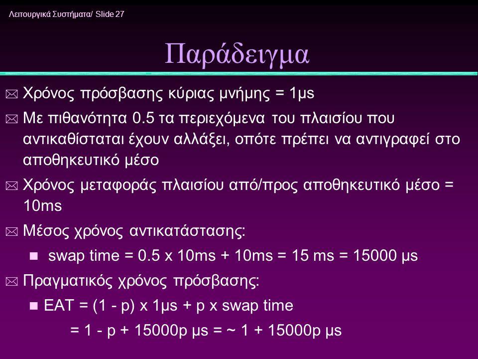 Παράδειγμα Χρόνος πρόσβασης κύριας μνήμης = 1μs