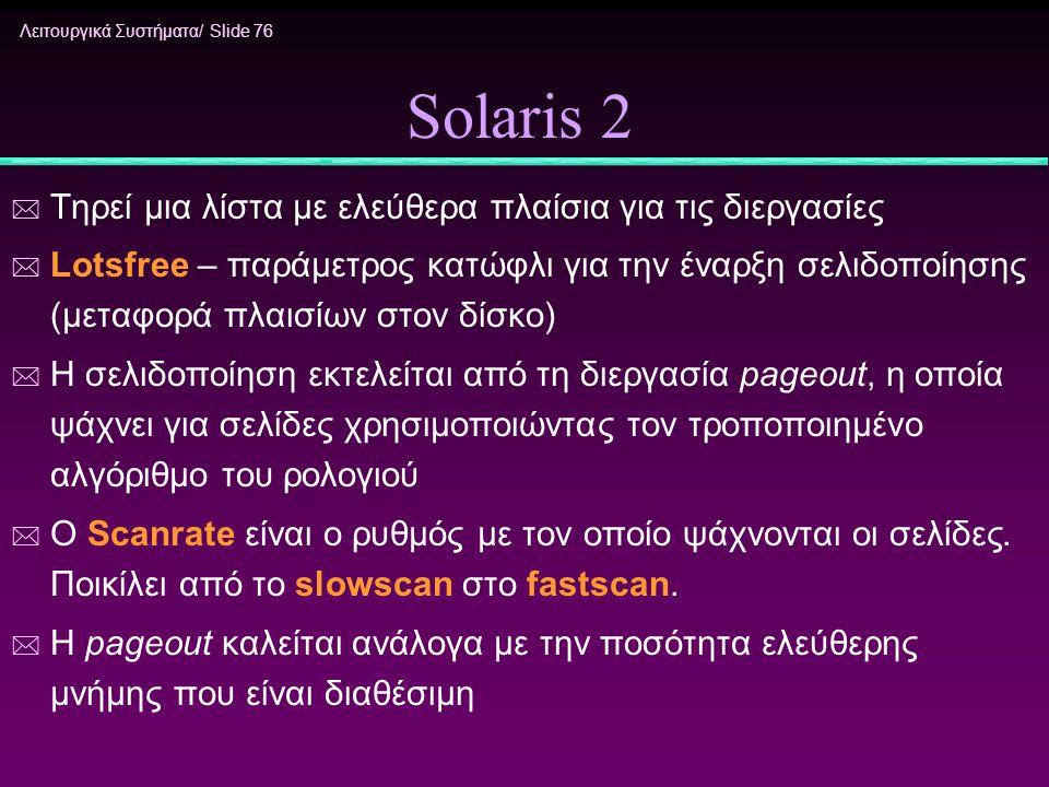 Solaris 2 Τηρεί μια λίστα με ελεύθερα πλαίσια για τις διεργασίες