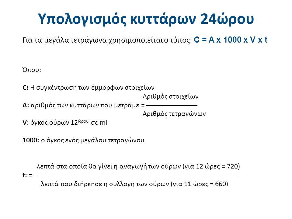 Παράδειγμα Αριθμός τετραγώνων: 2. Αριθμός πυοσφαιρίων: 15 + 13 = 28. Όγκος ούρων 12ώρου: 500 ml. Χρόνος συλλογής: 12 ώρες.