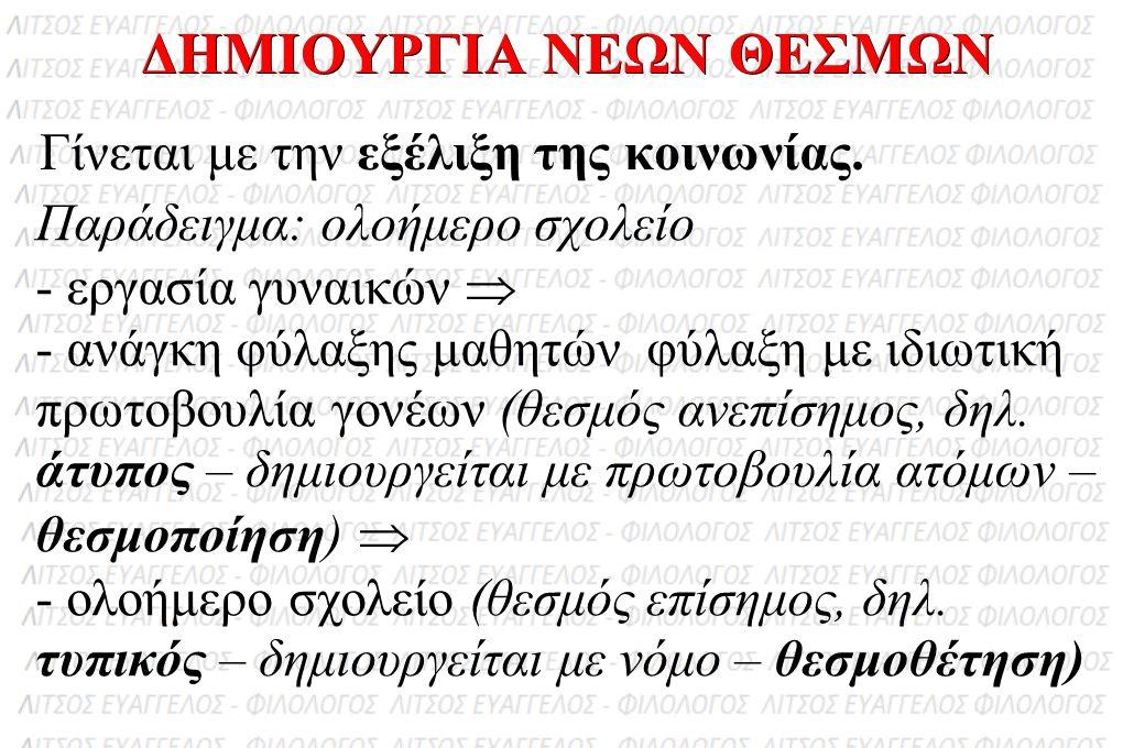 ΔΗΜΙΟΥΡΓΙΑ ΝΕΩΝ ΘΕΣΜΩΝ