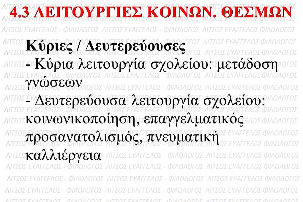 4.3 ΛΕΙΤΟΥΡΓΙΕΣ ΚΟΙΝΩΝ. ΘΕΣΜΩΝ
