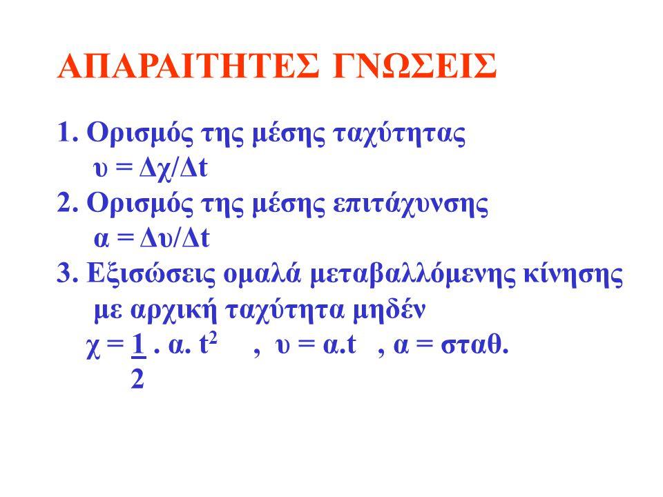 ΑΠΑΡΑΙΤΗΤΕΣ ΓΝΩΣΕΙΣ 1. Ορισμός της μέσης ταχύτητας υ = Δχ/Δt