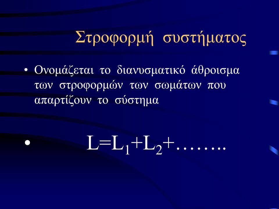 L=L1+L2+…….. Στροφορμή συστήματος