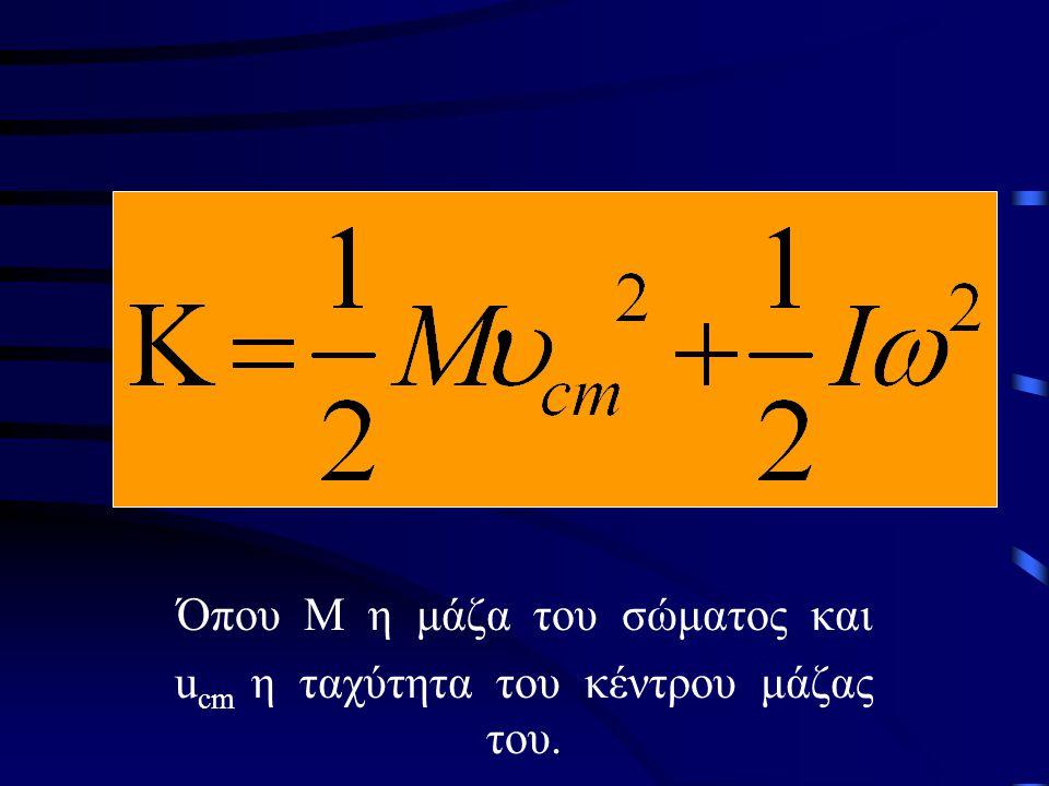 Όπου Μ η μάζα του σώματος και ucm η ταχύτητα του κέντρου μάζας του.