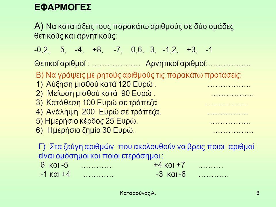 ΕΦΑΡΜΟΓΕΣ Α) Να κατατάξεις τους παρακάτω αριθμούς σε δύο ομάδες θετικούς και αρνητικούς: