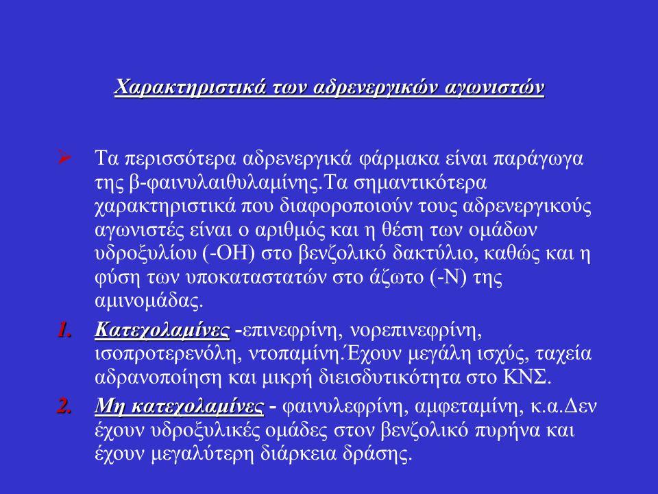 Χαρακτηριστικά των αδρενεργικών αγωνιστών