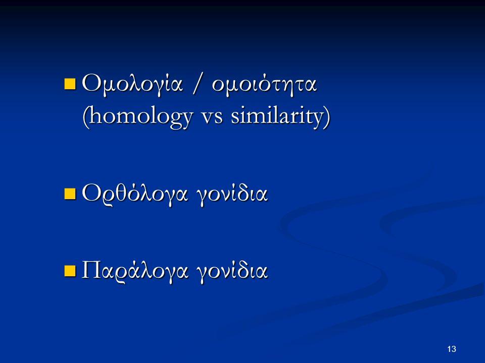 Ομολογία / ομοιότητα (homology vs similarity)