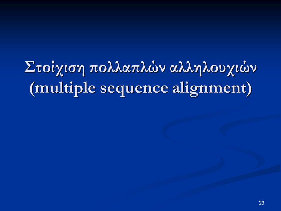 Στοίχιση πολλαπλών αλληλουχιών (multiple sequence alignment)