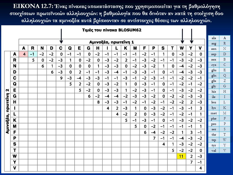 ΕΙΚΟΝΑ 12.7: Ένας πίνακας υποκατάστασης που χρησιμοποιείται για τη βαθμολόγηση στοιχίσεων πρωτεϊνικών αλληλουχιών: η βαθμολογία που θα δινόταν αν κατά τη στοίχιση δυο αλληλουχιών τα αμινοξέα αυτά βρίσκονταν σε αντίστοιχες θέσεις των αλληλουχιών.