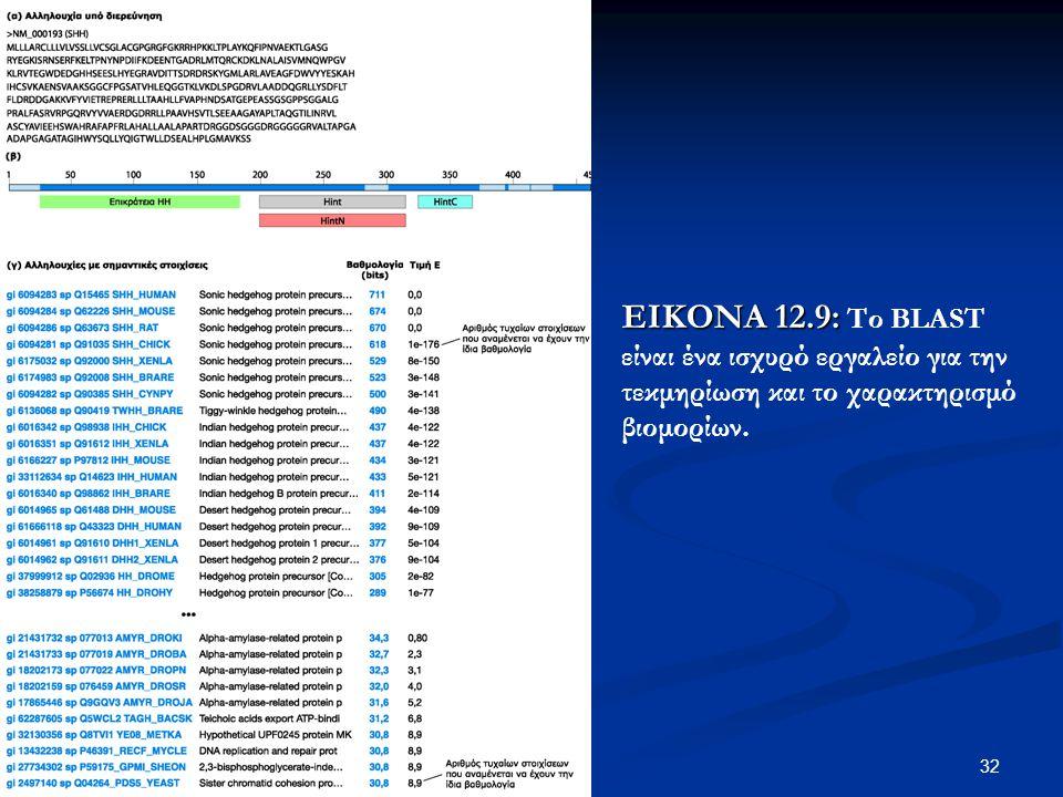 ΕΙΚΟΝΑ 12.9: Το BLAST είναι ένα ισχυρό εργαλείο για την τεκμηρίωση και το χαρακτηρισμό βιομορίων.
