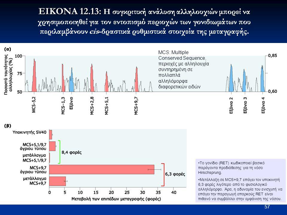 ΕΙΚΟΝΑ 12.13: Η συγκριτική ανάλυση αλληλουχιών μπορεί να χρησιμοποιηθεί για τον εντοπισμό περιοχών των γονιδιωμάτων που περιλαμβάνουν cis-δραστικά ρυθμιστικά στοιχεία της μεταγραφής.