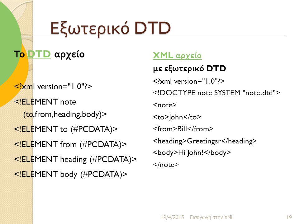 Εξωτερικό DTD Το DTD αρχείο XML αρχείο με εξωτερικό DTD