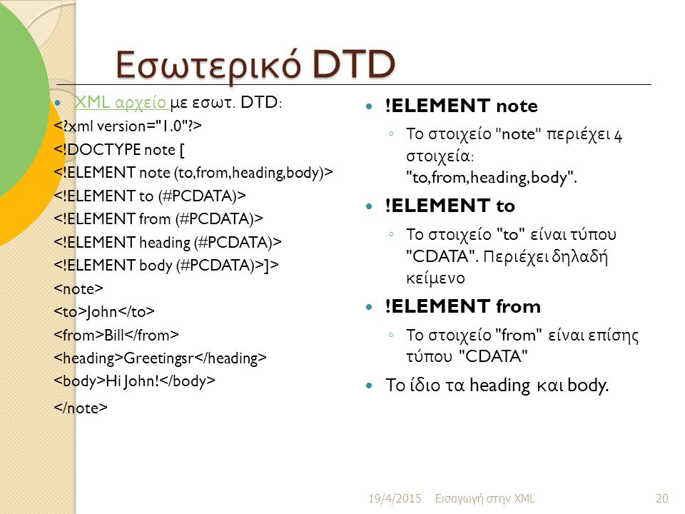 Εσωτερικό DTD !ELEMENT note !ELEMENT to !ELEMENT from