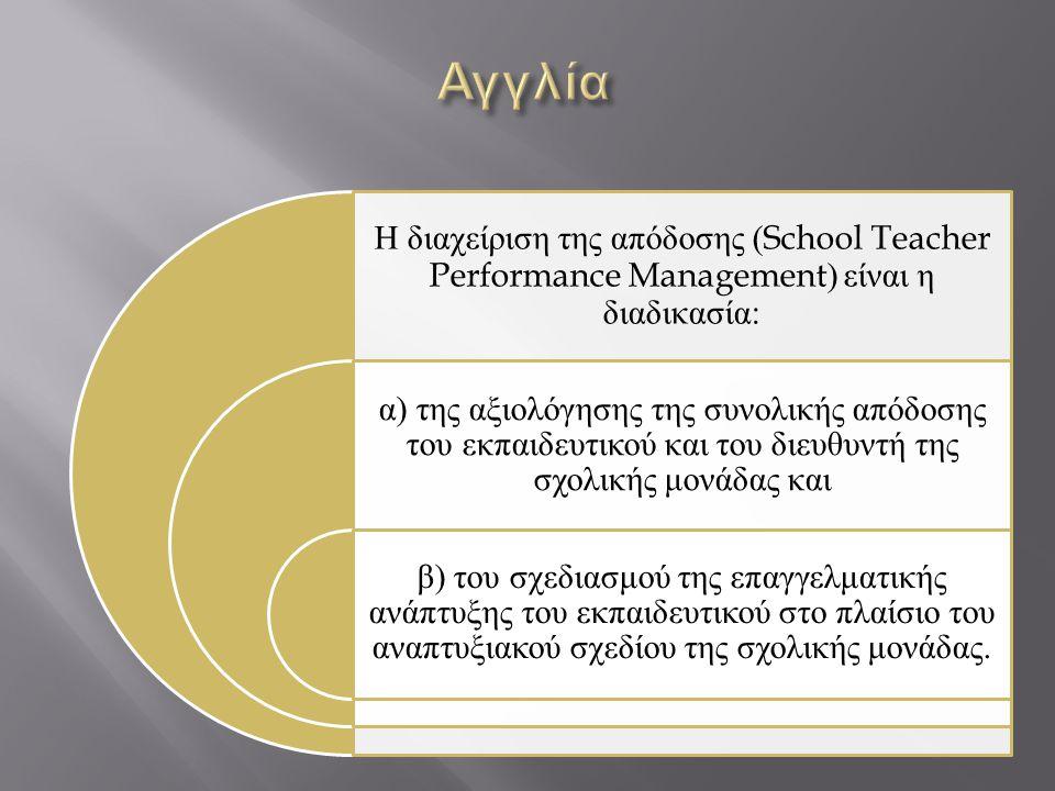 Αγγλία Η διαχείριση της απόδοσης (School Teacher Performance Management) είναι η διαδικασία: