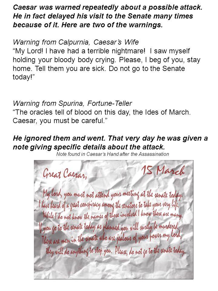 Warning from Calpurnia, Caesar's Wife