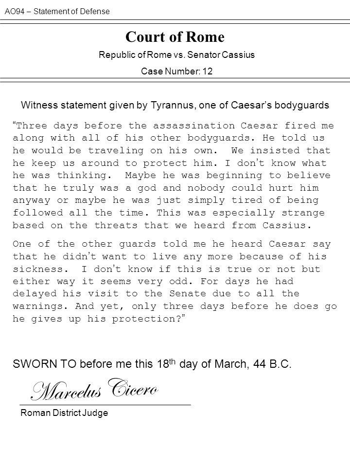 Marcelus Cicero Court of Rome