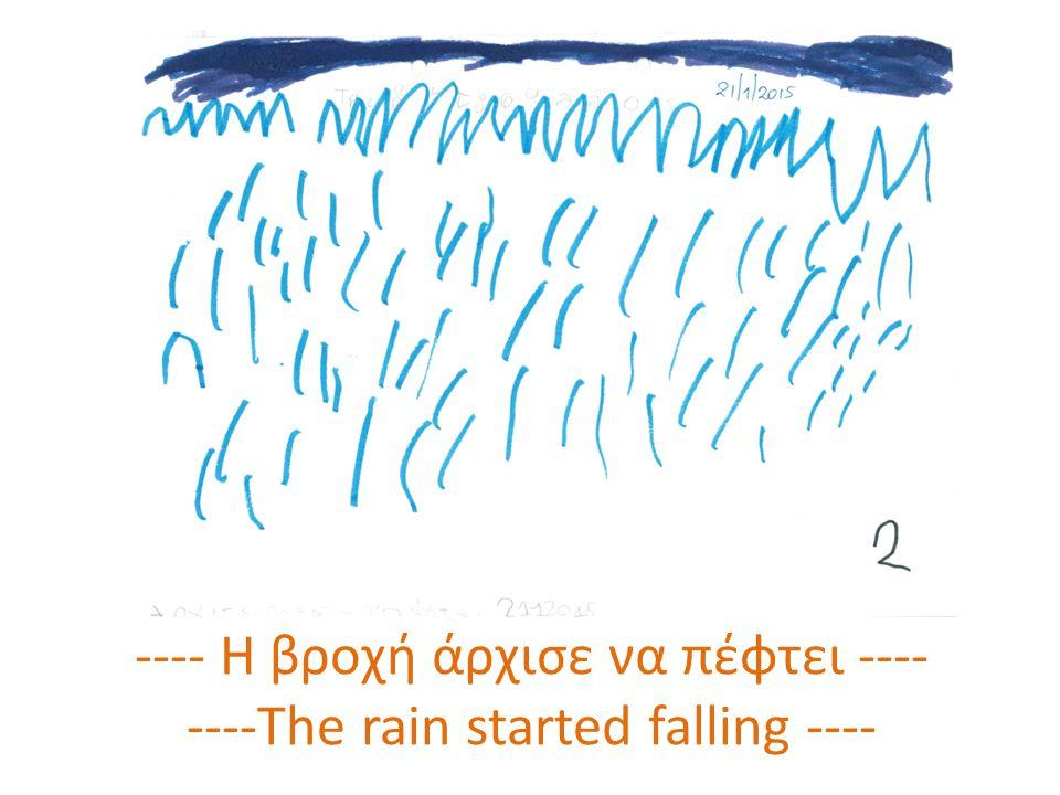 ---- Η βροχή άρχισε να πέφτει ---- ----The rain started falling ----