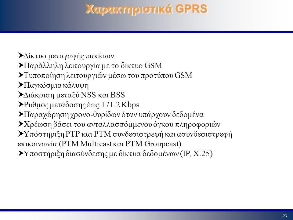 Χαρακτηριστικά GPRS Δίκτυο μεταγωγής πακέτων