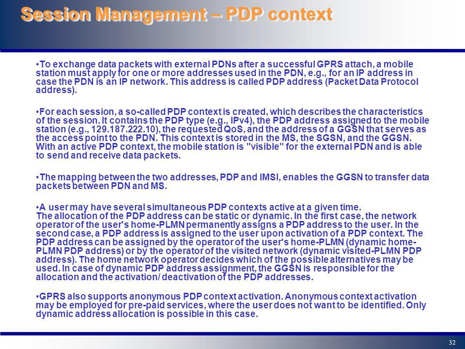 Session Management – PDP context