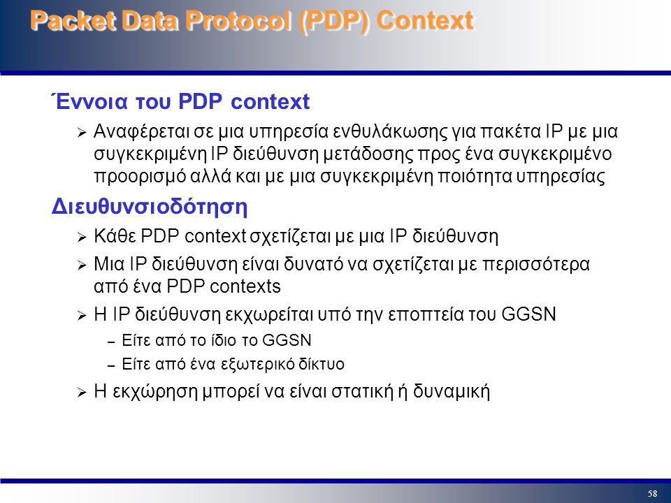 Packet Data Protocol (PDP) Context