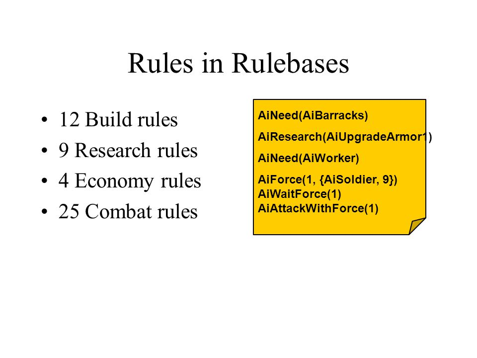 Rules in Rulebases 12 Build rules 9 Research rules 4 Economy rules