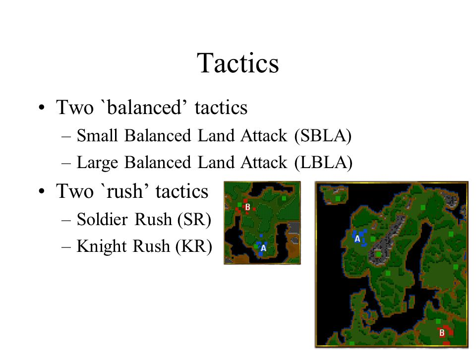 Tactics Two `balanced' tactics Two `rush' tactics