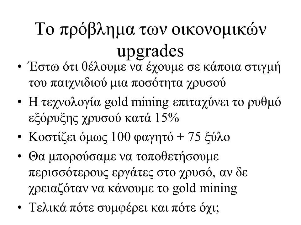 Το πρόβλημα των οικονομικών upgrades