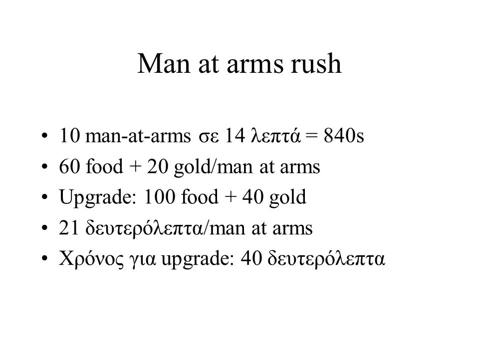 Man at arms rush 10 man-at-arms σε 14 λεπτά = 840s