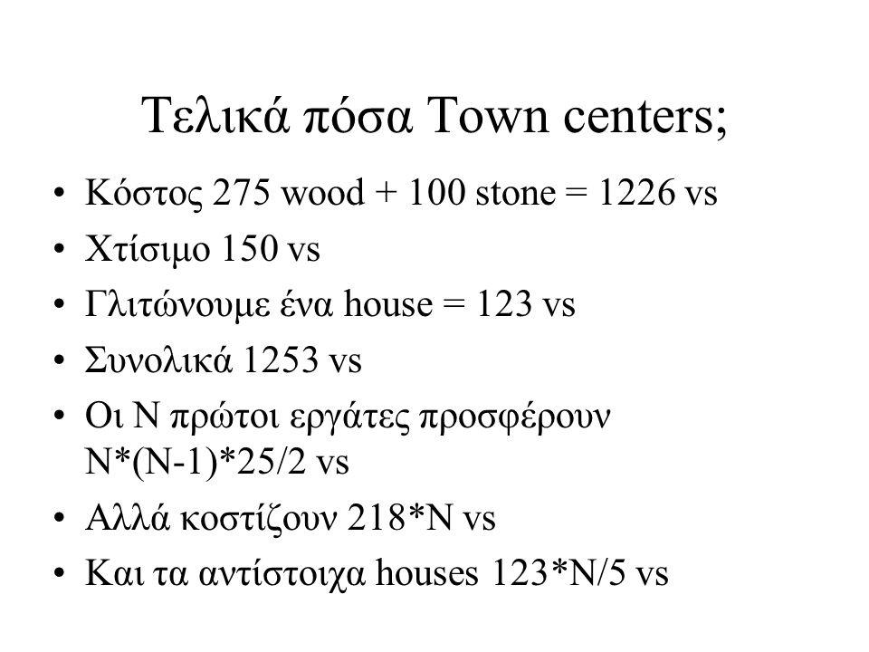 Τελικά πόσα Town centers;