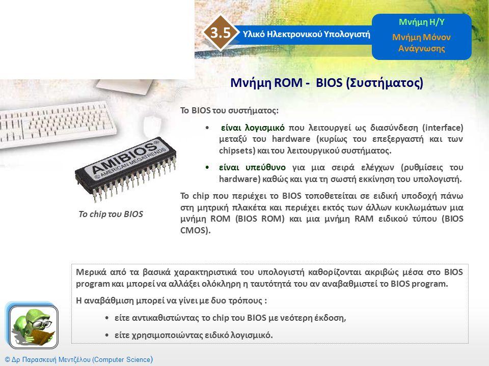 3.5 Μνήμη ROM - BIOS (Συστήματος) Μνήμη Η/Υ Μνήμη Μόνον Ανάγνωσης