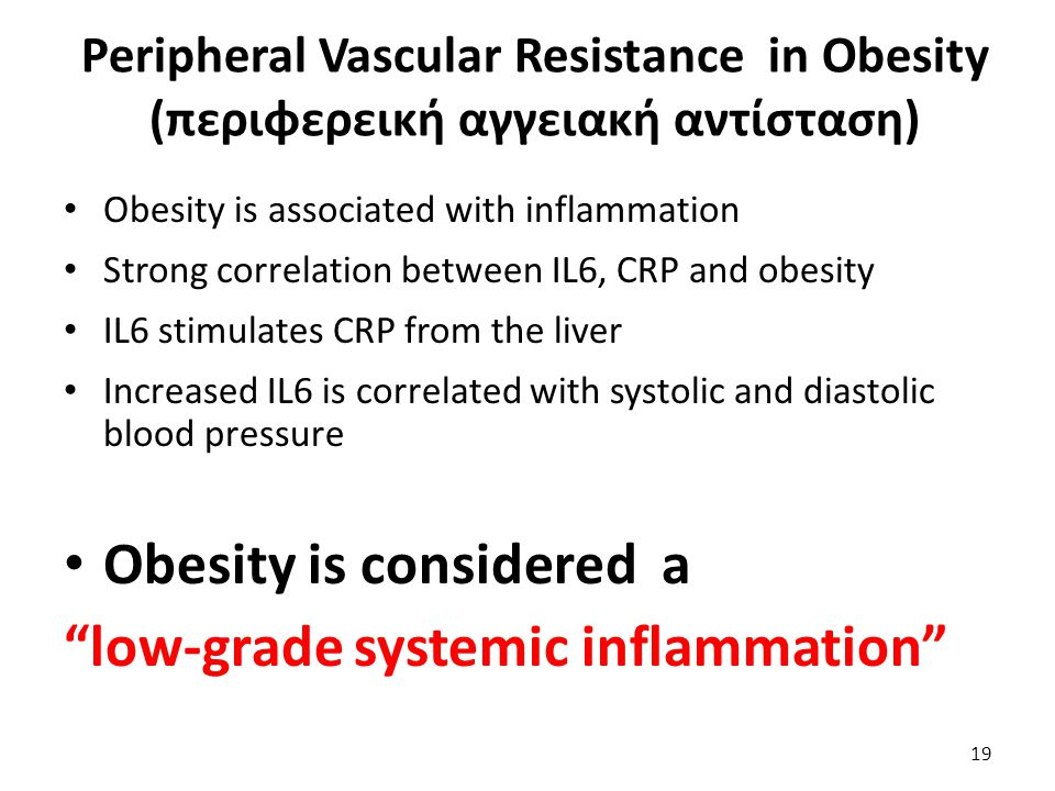 Obesity is considered a low-grade systemic inflammation