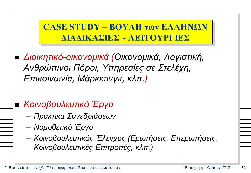 CASE STUDY – ΒΟΥΛΗ των ΕΛΛΗΝΩΝ ΔΙΑΔΙΚΑΣΙΕΣ - ΛΕΙΤΟΥΡΓΙΕΣ