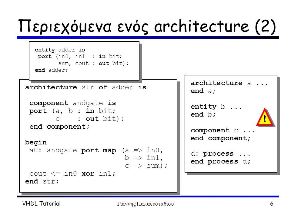 Περιεχόμενα ενός architecture (2)