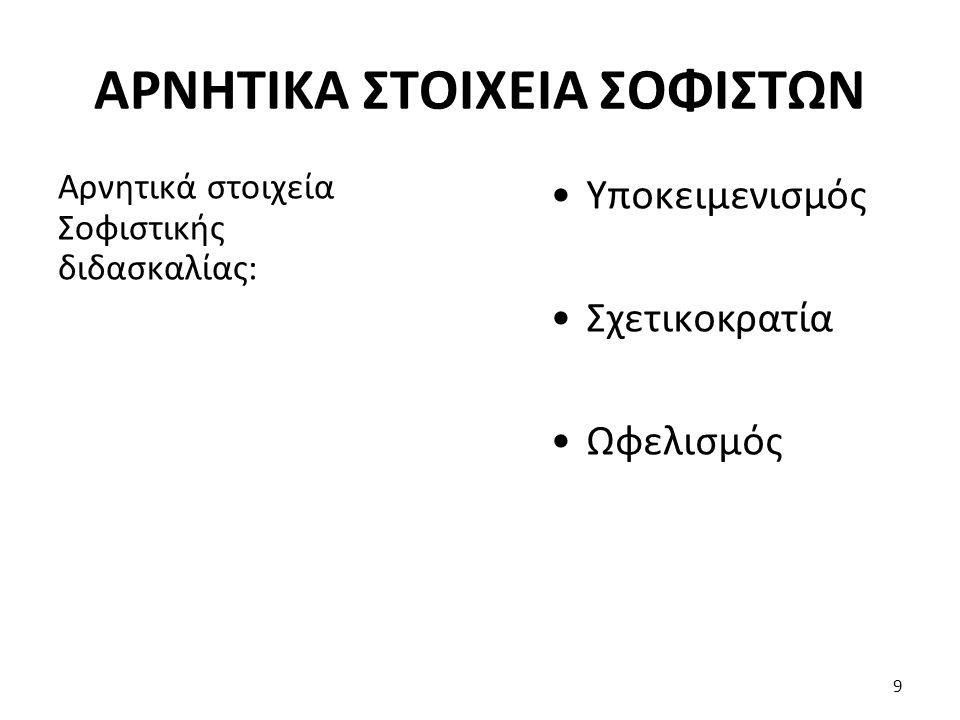 ΑΡΝΗΤΙΚΑ ΣΤΟΙΧΕΙΑ ΣΟΦΙΣΤΩΝ