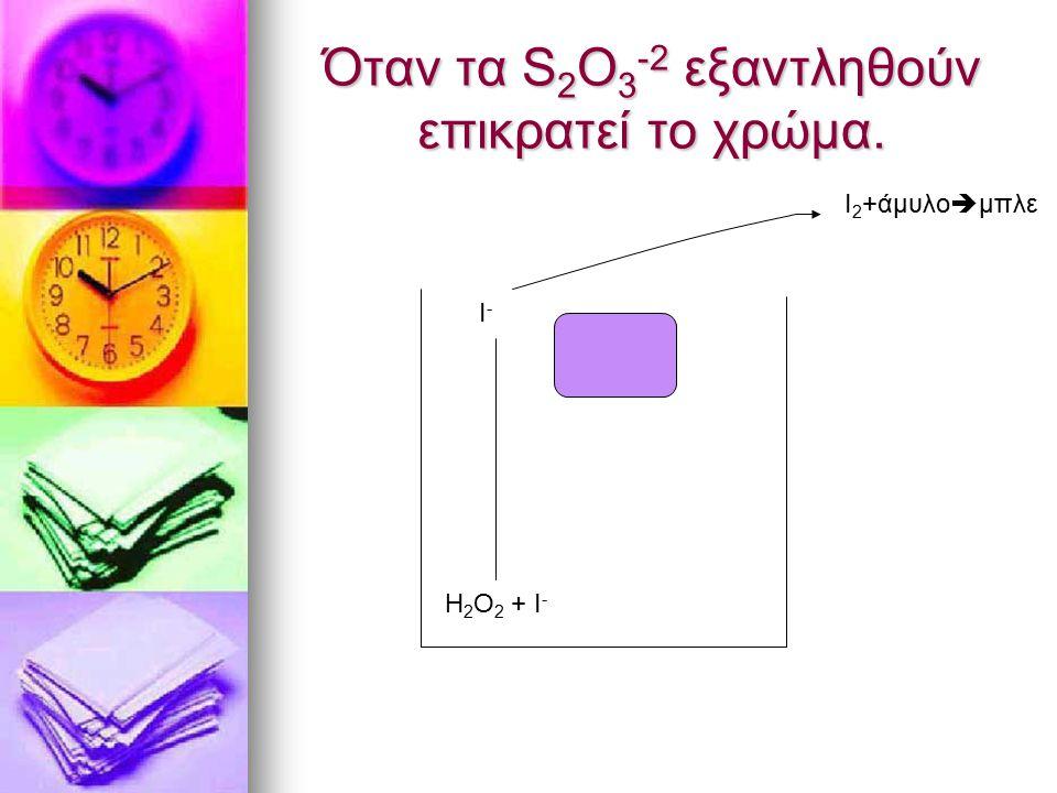 Όταν τα S2O3-2 εξαντληθούν επικρατεί το χρώμα.
