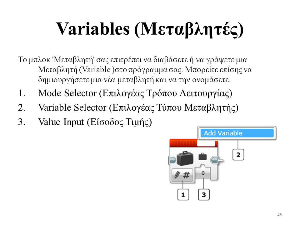 Variables (Μεταβλητές)