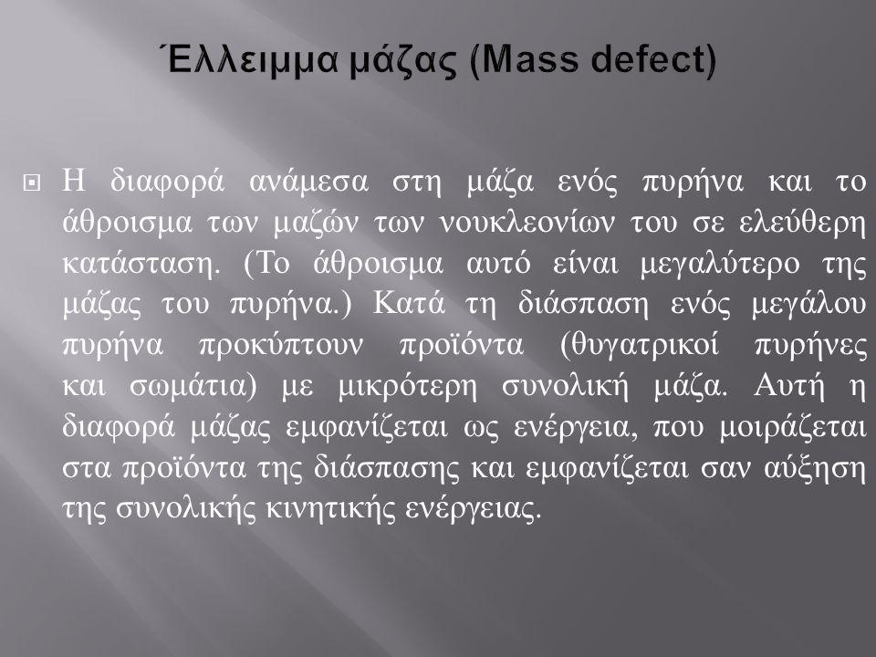 Έλλειμμα μάζας (Mass defect)