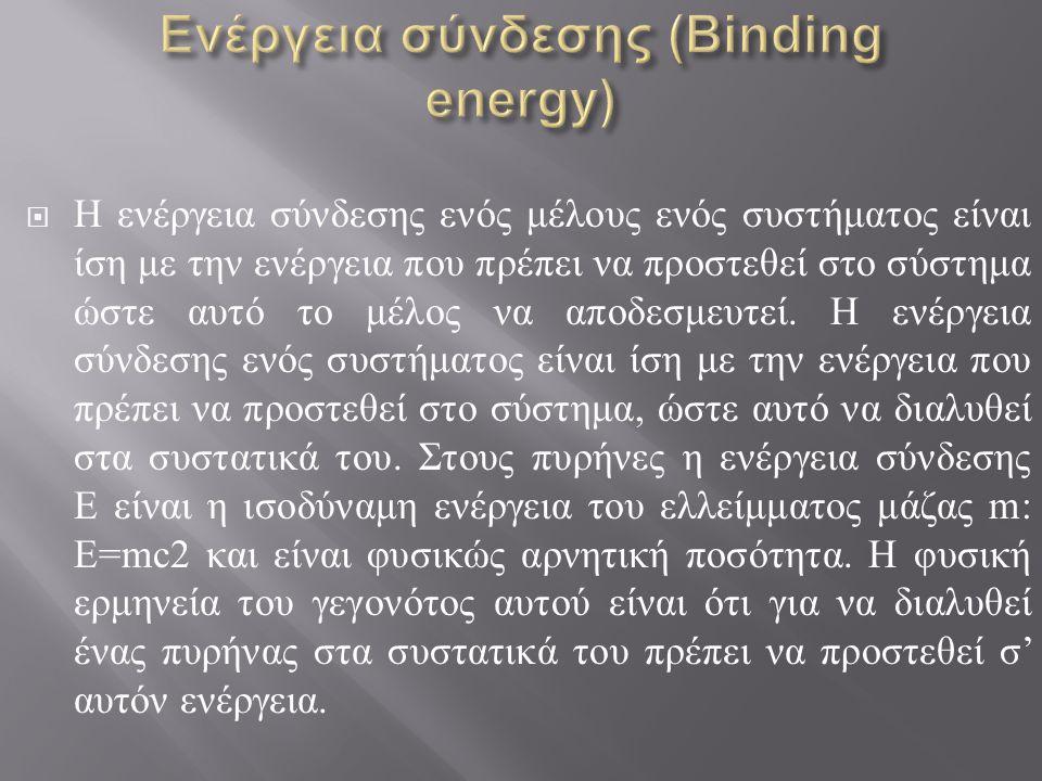 Ενέργεια σύνδεσης (Binding energy)