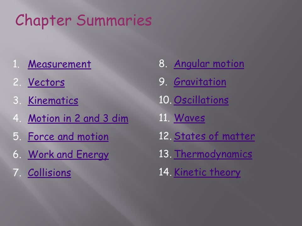 Chapter Summaries Measurement Angular motion Vectors Gravitation