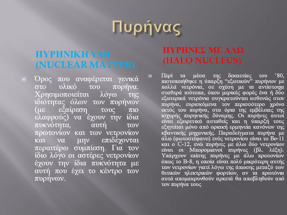 Πυρήνας ΠυρηνικΗ υλη (Nuclear matter) ΠυρΗνες με Αλω (Halo nucleus)