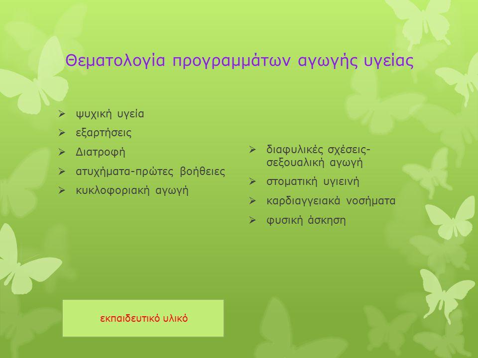 Θεματολογία προγραμμάτων αγωγής υγείας