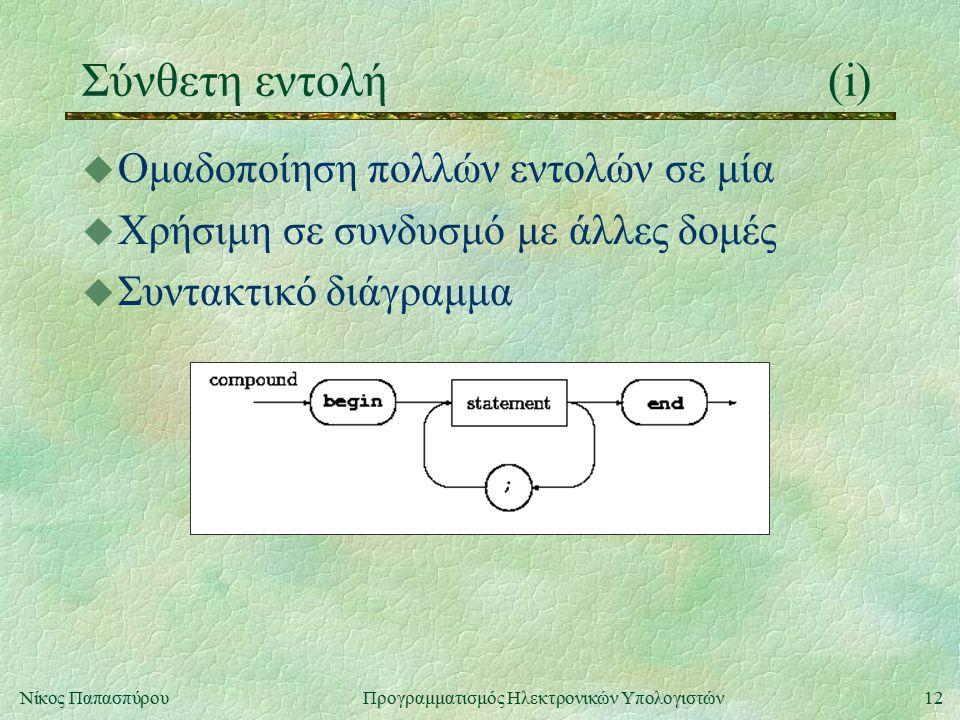 Σύνθετη εντολή (i) Ομαδοποίηση πολλών εντολών σε μία
