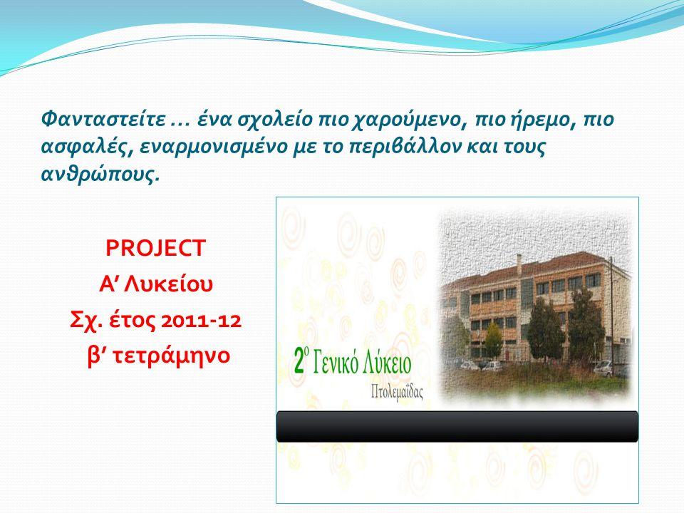 PROJECT Α' Λυκείου Σχ. έτος 2011-12 β' τετράμηνο