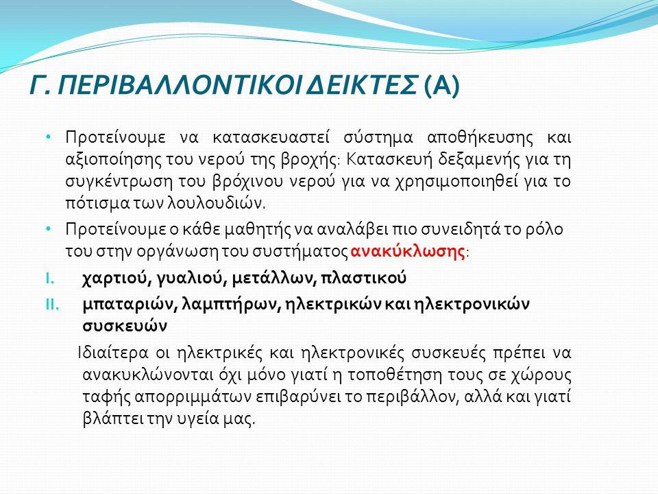 Γ. ΠΕΡΙΒΑΛΛΟΝΤΙΚΟΙ ΔΕΙΚΤΕΣ (Α)