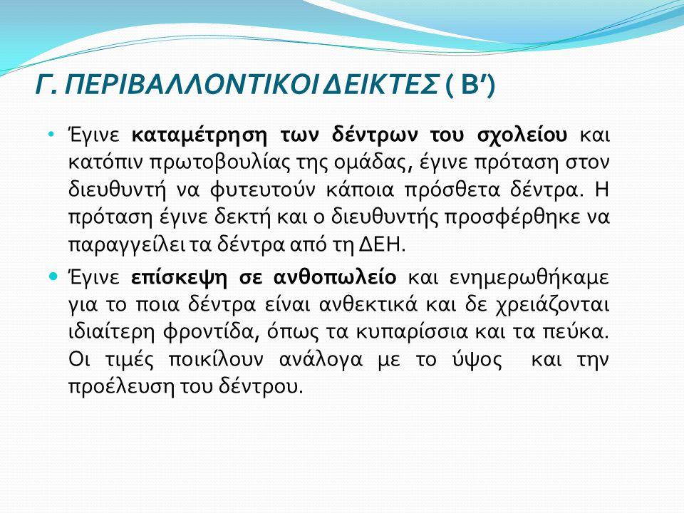 Γ. ΠΕΡΙΒΑΛΛΟΝΤΙΚΟΙ ΔΕΙΚΤΕΣ ( Β')